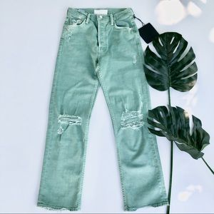 Mother Superior Tomcat Chew rare green crop jeans